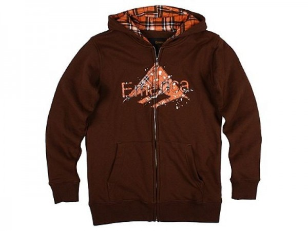 Emerica Zip-Hooded Flying the Flannel chocolate