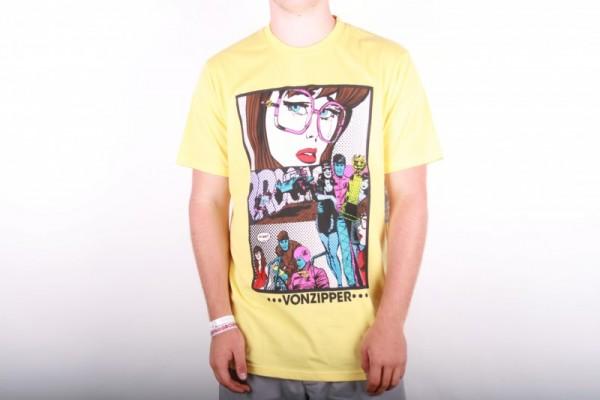 Vonzipper T-shirt Comic Strip yellow cream