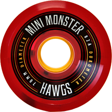 Hawgs Longboard Wheels Mini Monsters 70mm 82a Clear red