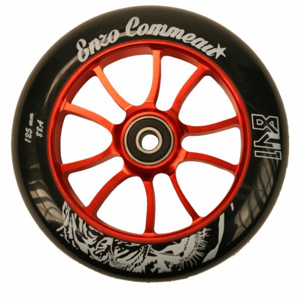 841 Scooter Wheel Enzo 125mm Red inkl Titen Abec 9 Bearings