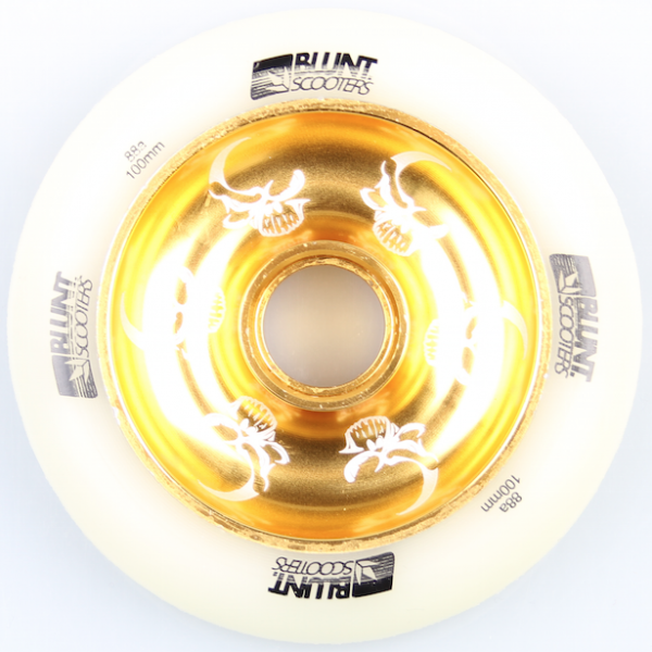 Blunt Scooter Wheel Skull Full Core 100mm White/Gold inkl. Titen Abec 5 Bearings