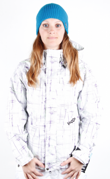 Volcom Snow Jacket Queens painted plaid white Ladies