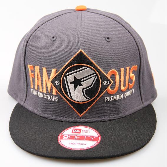 Famous Cap No 9 Bootleg Snapback Grey Black Orange